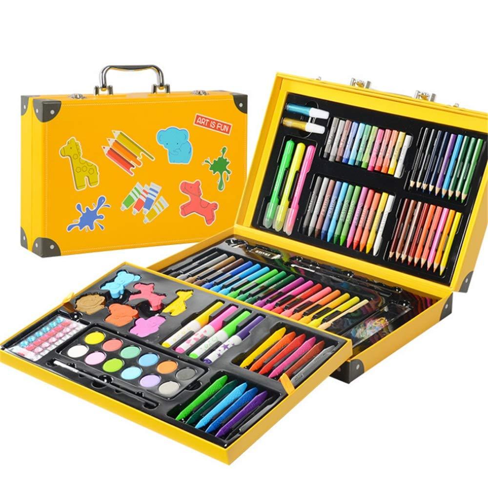 Baoffs Kunsthandwerk-Set für Kinder Kunst Zeichnung Set Kinder 159 Piecs Studenten Farbe Design Pinsel Geschenk Kreative Geschenkartikel Farbgrafik Zeichnung Malerei (Farbe : Gelb)