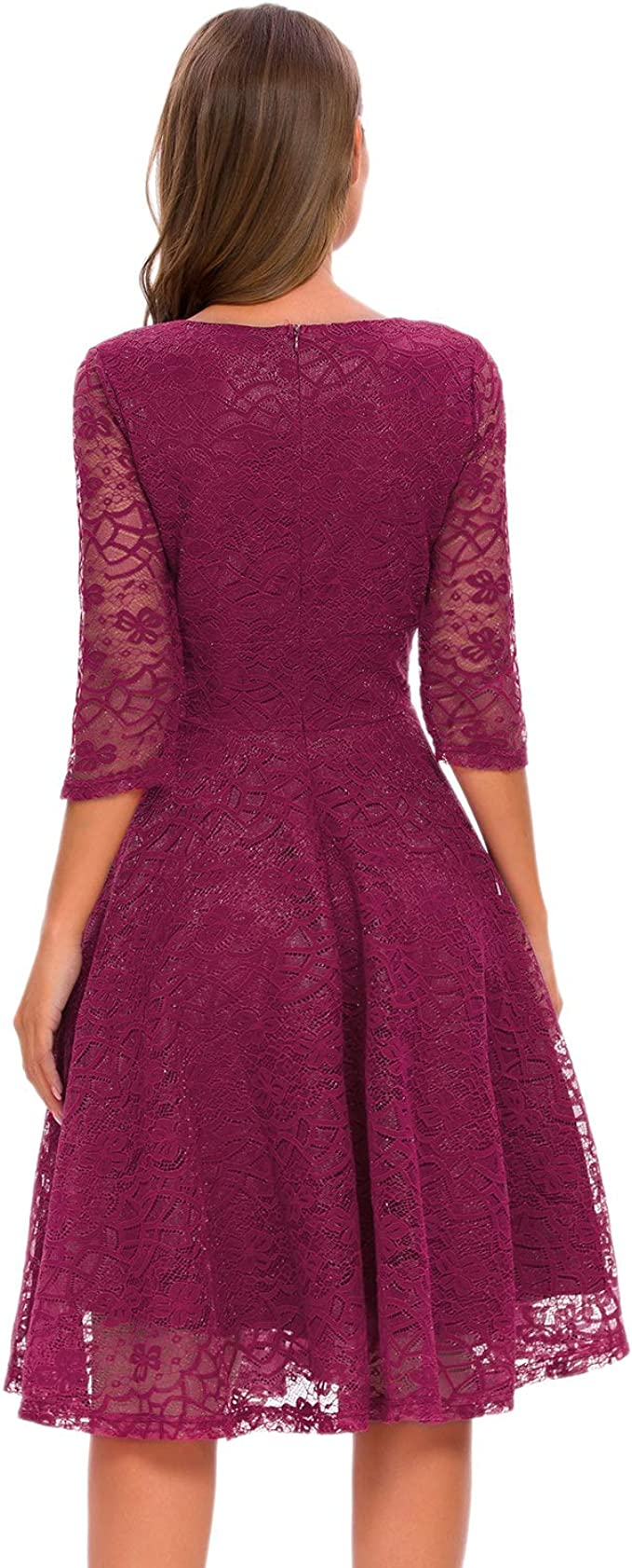 Bright Deer Women Floral Lace Crinkle V Neck Midi Vintage Prom Dress with 3//4 Sleeves