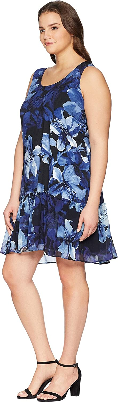 Karen Kane Plus Womens Plus Size Ruffle Hem Dress