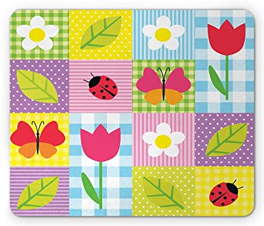 Ladybugs Mouse Pad Spring Flowers Butterflies Ladybugs On Polkadot