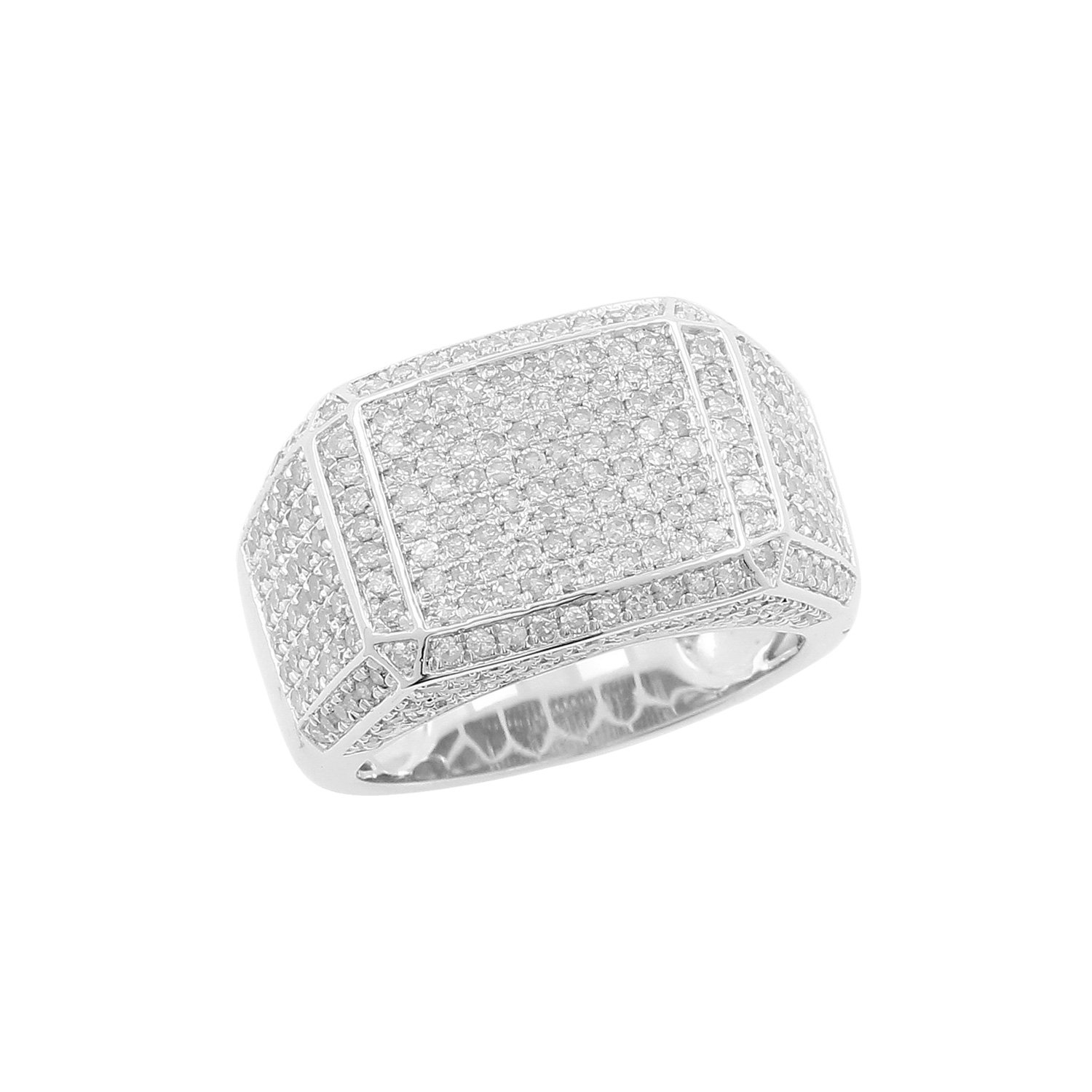 2.40cttw Diamond Men's Ring in 925 Silver, Size 10 (I-J, I2-I3 Clarity)