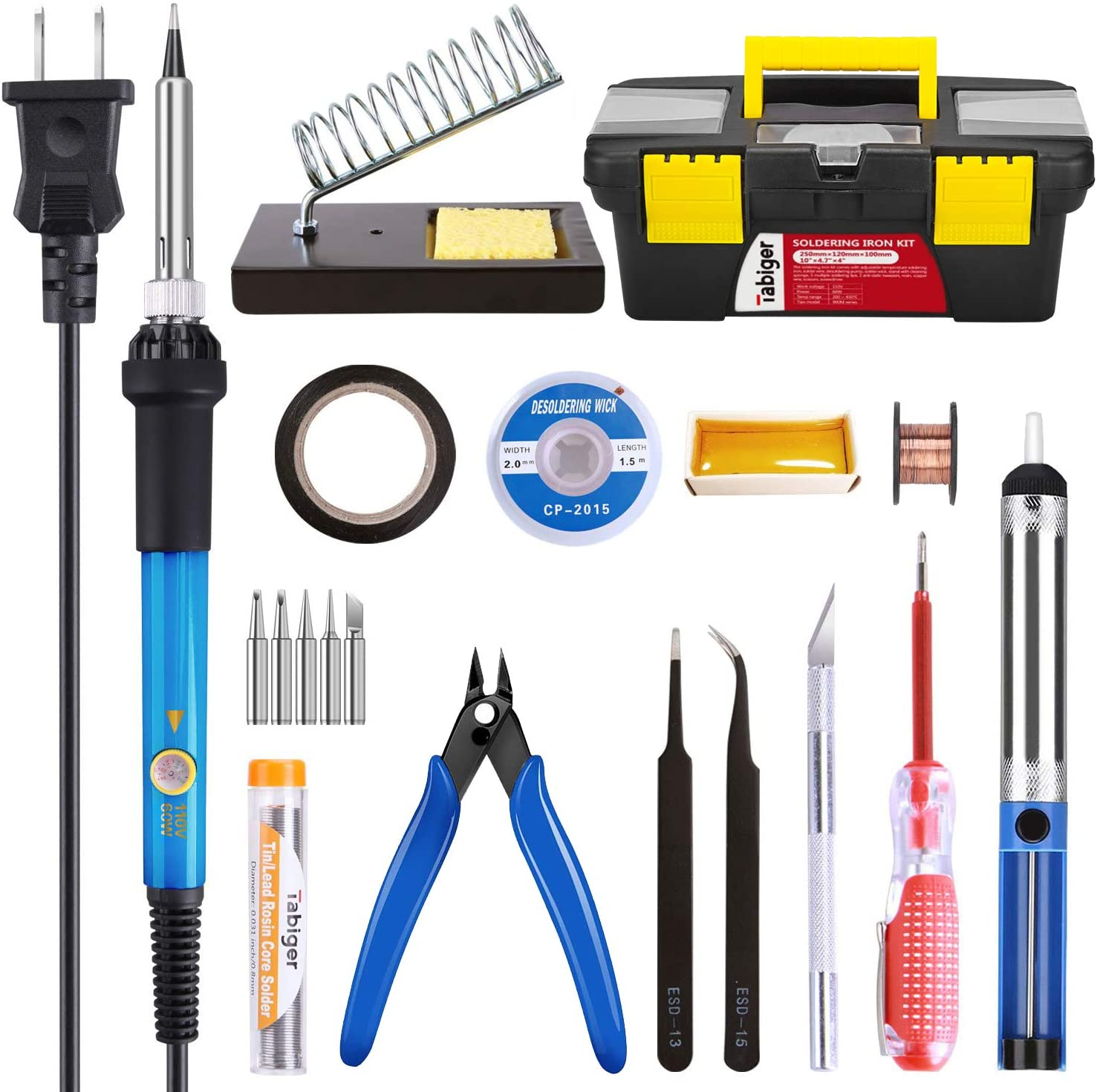Amazon.com: Soldering Iron Kit Electronics 60W Adjustable Temperature Soldering  Iron, 5pcs Soldering Iron Tips, Solder, Rosin, Solder Wick, Stand and Other  Soldering Kits in Portable Toolbox: Home Improvement