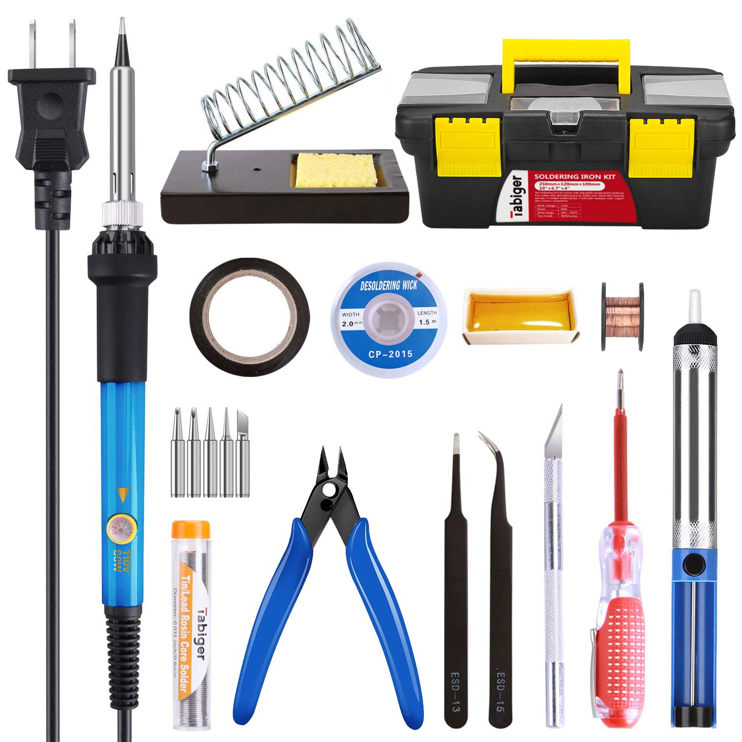 Soldering Iron Kit Electronics 60W Adjustable Temperature Soldering Iron, 5pcs Soldering Iron Tips, Solder, Rosin, Solder Wick, Stand and Other Soldering Kits in Portable Toolbox by Tabiger