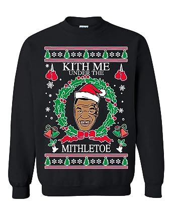 ca3629268bd1ef Amazon.com  Ugly Christmas Sweater Mike Tyson Kith Me Under The Mithletoe  Unisex Sweatshirt  Clothing