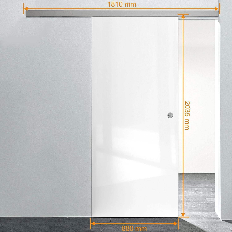 Puerta de madera puerta corrediza habitaciones 880 x 2035 mm Juego completo de aluminio blanco brillante del Carril vollspan Madera de Juego, incluye cerradura de puerta, Griffmuschel + Softclose: Amazon.es: Hogar