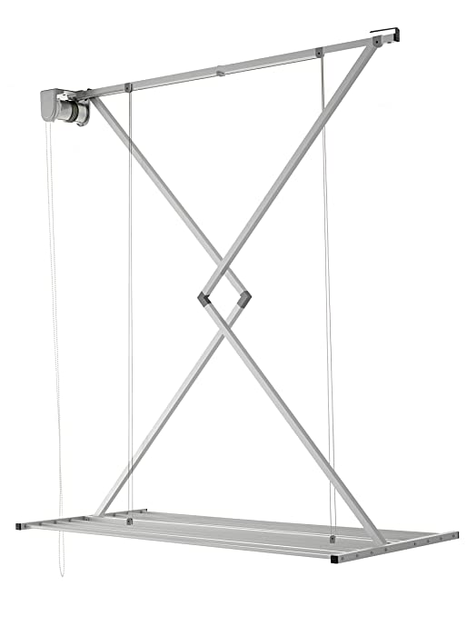 foxydry Ceiling Mounted Clothes Drying Rack, Pulley Clothesline, Mini 150, Vertical Folding Laundry Drying Rack (150)