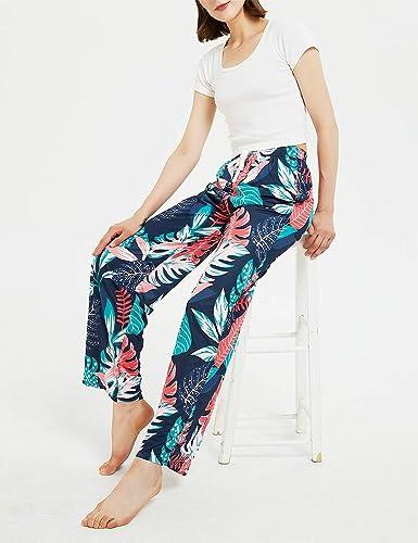 Pantalones De Pierna Ancha Para Descansar Pantalones Playeros De Verano Con 2 Bolsillos Pantalones Casuales De Mujer Con Estampado Floral Pantalones De Pijama Pantalones Mujer