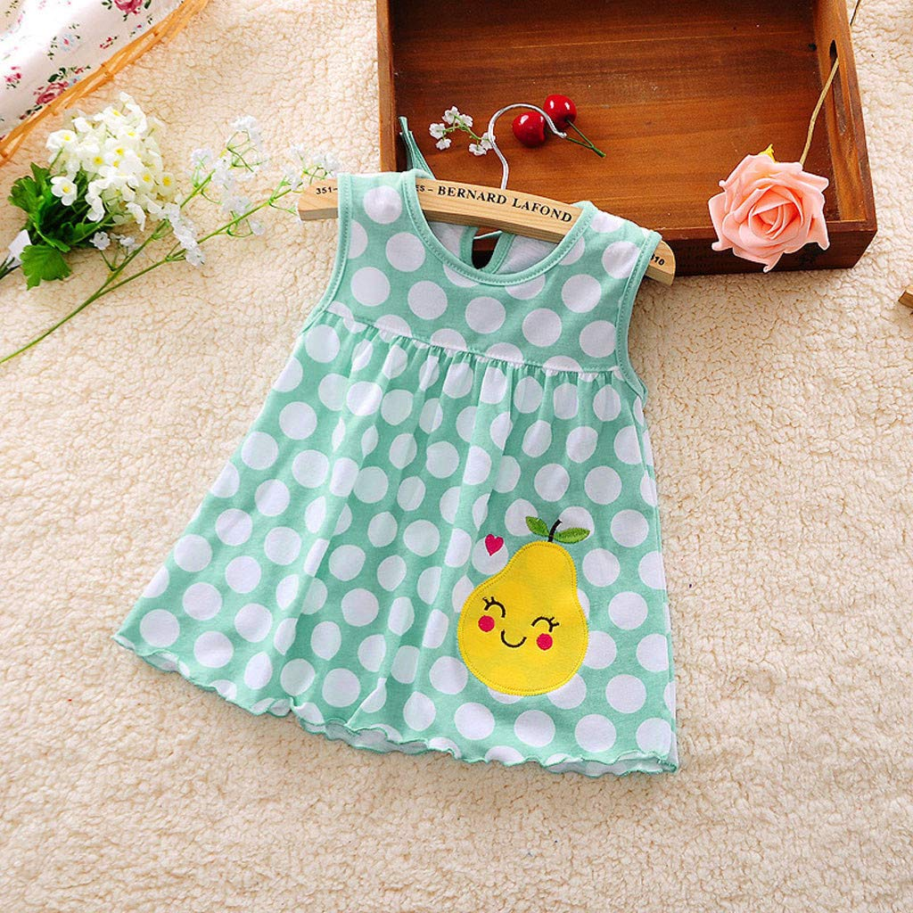 Diufon Toddler Girl Summer Polka Dot Stripe Mini Vest Dress Embroidered Floral Pattern Dress (0-24 Months, Blue) by Diufon (Image #2)