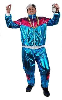 Marvelous Shell Suit Costume Fancy Dress 80u0027S SHELLSUIT Chav Outfit Blue Shiny Zip UP  Jacket +
