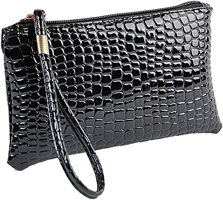 Women Leather Black/&White Monochrome Clutch Shoulder Bag Purse Handbag Wallet