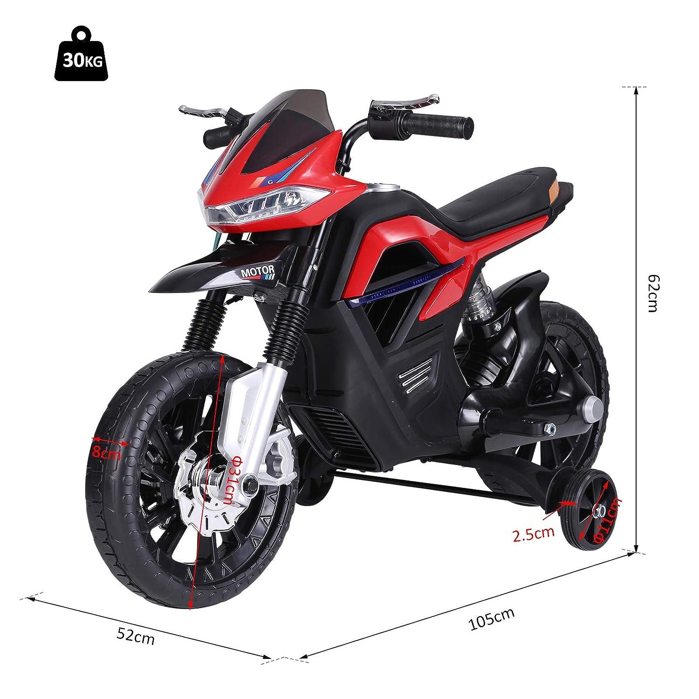 HOMCOM Moto Eléctrica para Niños 3+ años Moto de Juguete Infantil ...