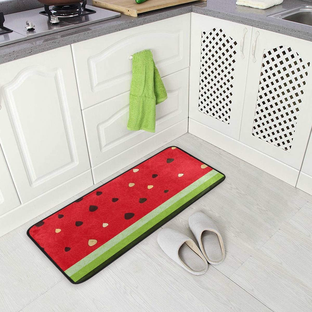 ALAZA Fruit Watermelon Juice Seed Non Slip Kitchen Floor Mat Kitchen Rug