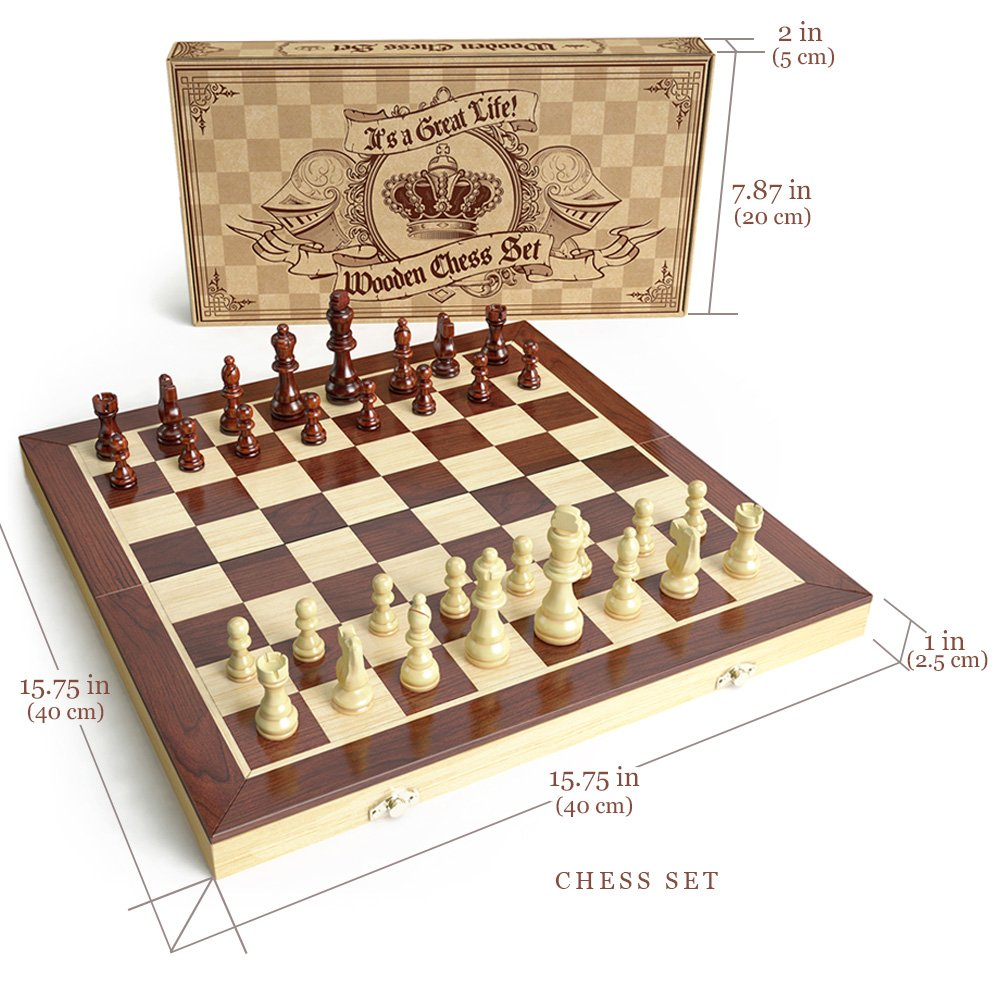 Amazon.com: AGreatLife Wooden Chess Set: Universal Standard Wooden Chess  Board Game Set   Handcrafted Wood Game Pieces, Pawns   With 15 Inch Board  And With ...