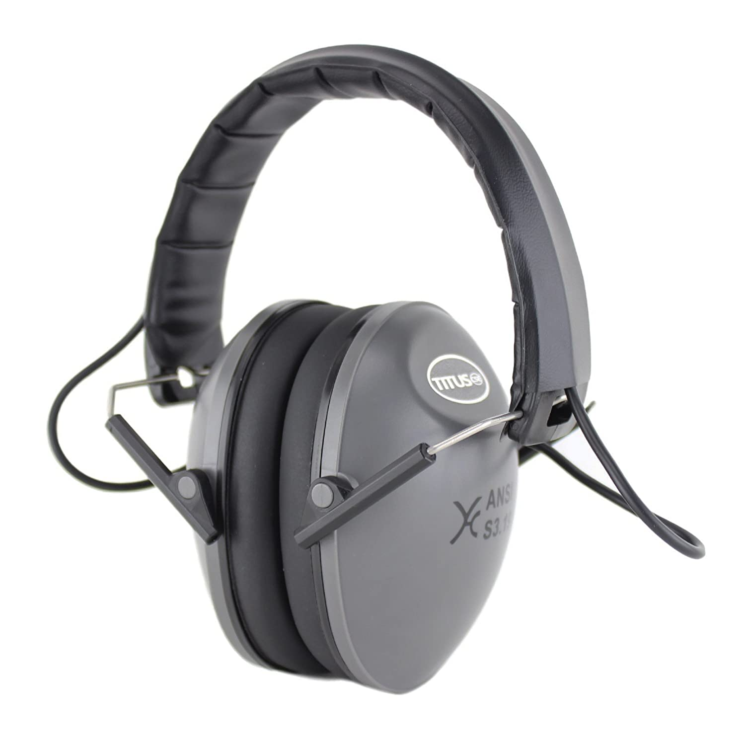 Safety Earmuffs /& Glasses Grey Electronic - Slim, Z87.1 Clear Retro Folding Side Shield TITUS Top Combos