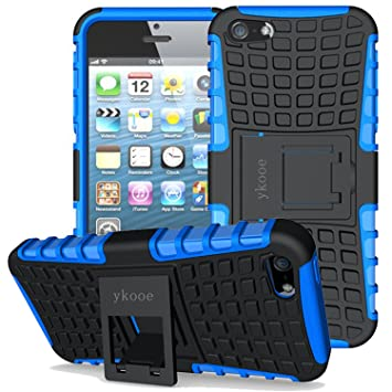 ykooe Funda para iPhone 5, (TPU Series) iPhone 5s Híbrida Doble Capa Teléfono Móvil Carcasa Antigolpes Funda con Soporte para iPhone 5 5s se (Azul)