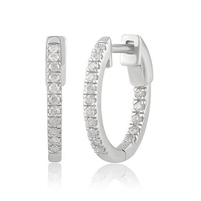 4c435166945c27 Amazon.com: Diamondmuse Inside-Out Diamond Hoop Earring in 14K Gold ...
