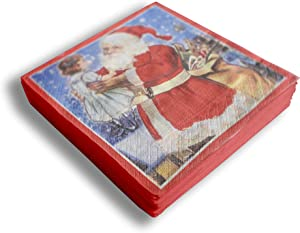 Set of 20 Individual Decoupage Paper Party Napkins CHRISTMAS SANTA CLAUS GIRL Watercolor Decor Luncheon Beverage Napkin for a Birthday, Holiday, Wedding, Cocktail Party