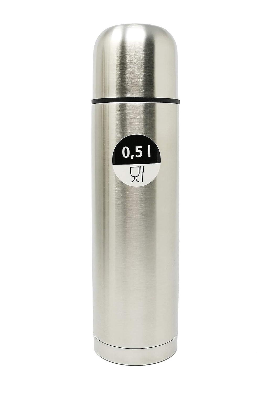 Effons doppelwandige Isolierflasche mit Becher und Automatikverschluss fü r Einhandbedienung - Silber Edelstahl gebü rstet fü r Unterwegs - Ideal fü r Heiß - und Kaltgeträ nke (0, 3l / 350ml)