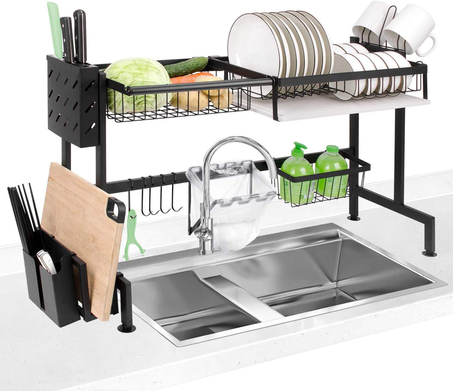 Amazon Com Dish Drying Rack Homeweeks Kitchen Stainless Steel Dish Rack Over Sink Dish Drying Rack Drainer Shelf With Utensil Holder Storage Shelf Space Saver Display Stand Kitchen Dining
