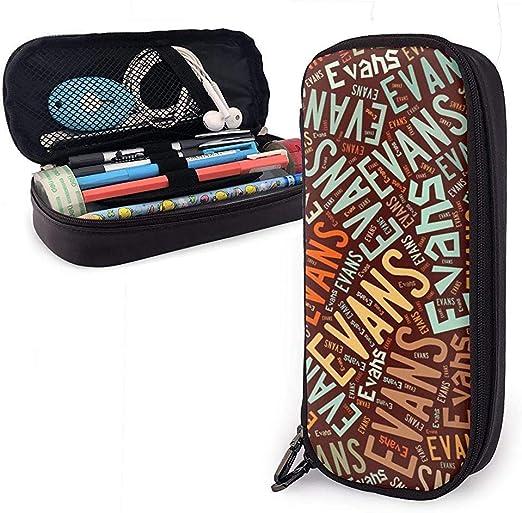 Evans - Estuche de lápices de cuero American Gran capacidad, estuche para lápices, organizador de caja de bolsa de almacenamiento grande, bolsa de cosméticos portátil: Amazon.es: Oficina y papelería