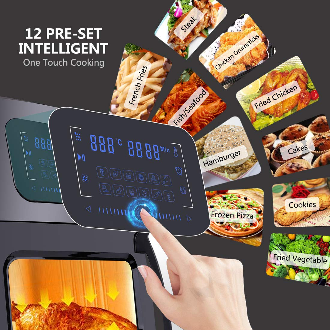 SARKI XL Fryer Viewing Window 12Qt Large Capacity, 6-Piece Programmable Air Oven with 12 Pre Settings Electric Hot Deep 6.3Qt Extra Fry Pan Inside-1700W /110V by SARKI (Image #4)