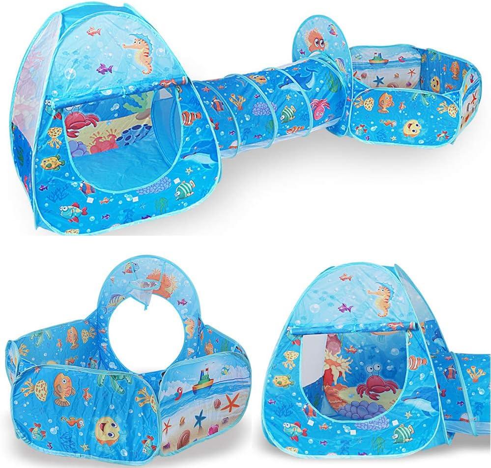Play Tente Ocean Ball Pool Cartoon Oc/éan S/érie Enfants Jeu ext/érieur 3 en 1 Pliable Kids Play Maison Tente Tunnel Crawling