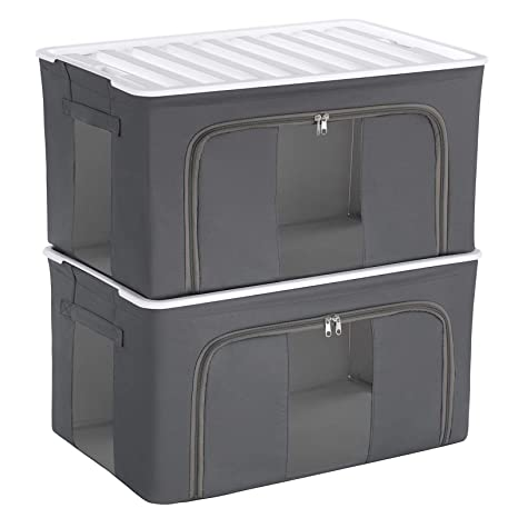 SONGMICS XL Caja de Almacenamiento con Tapa de Plástico, Contenedores Apilables, con Marco de