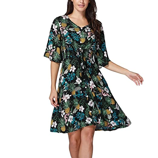 Minisoya Women Vintage Pineapple Floral Printed Boho Beach Long Dress Button Prom Cocktail Party Casual Flowy