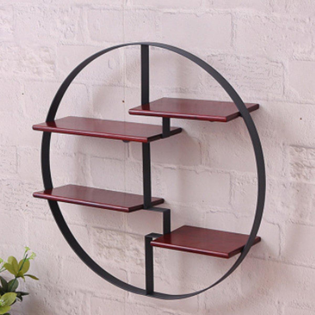 KINGSO Round Wall Unit Retro Wood Industrial Style Metal Shelf Rack Storage Black Black