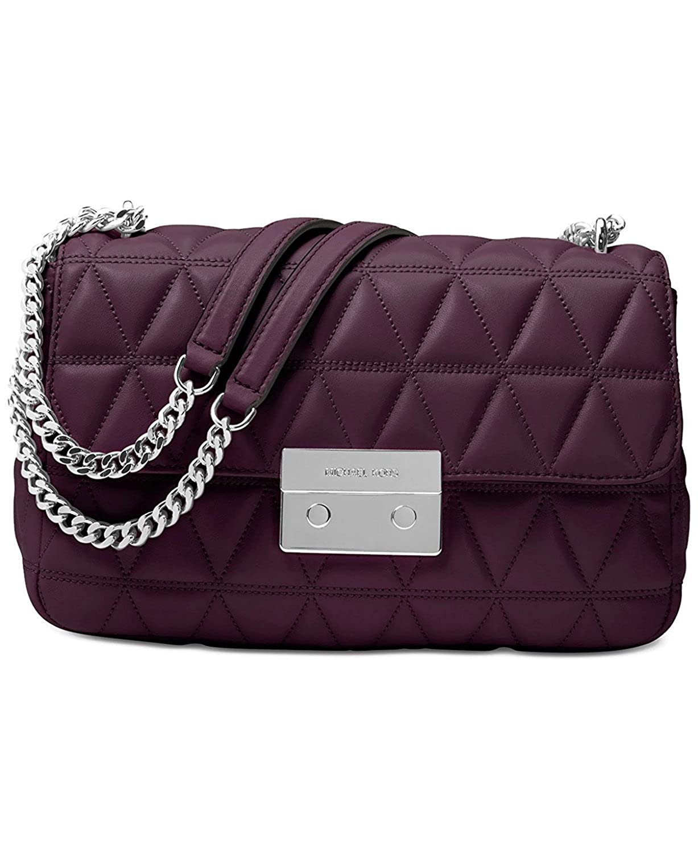 2b341a49d84f5 MICHAEL Michael Kors Sloan Large Chain Shoulder Bag - Damson  Handbags   Amazon.com