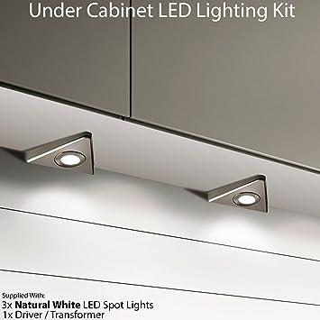3 x 6 W LED Spot Küche unter Unterschrank Dreieck-&-Set, Edelstahl ...