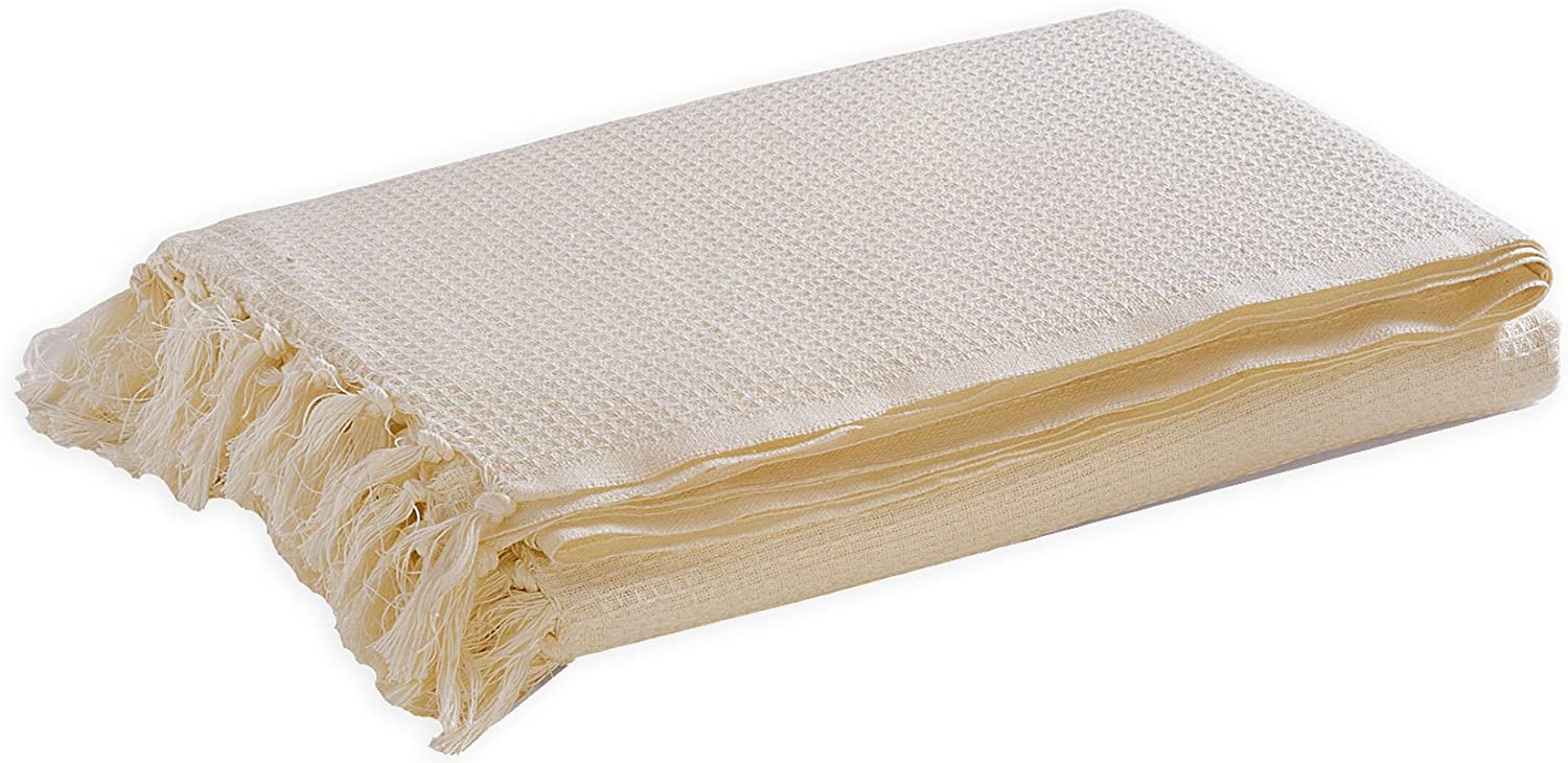 Ivory By Elite Home Collection 100% Cotton Woven Throw ...