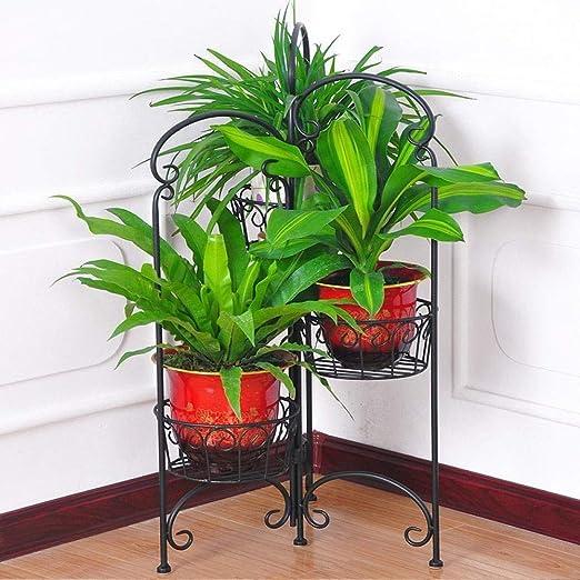 YAHAO Stand para Macetas, 3 Niveles Bastidor Soporte Metálico Escalera para Macetas Pare Plantas Y Flores Bastidor para Macetas,Black: Amazon.es: Hogar