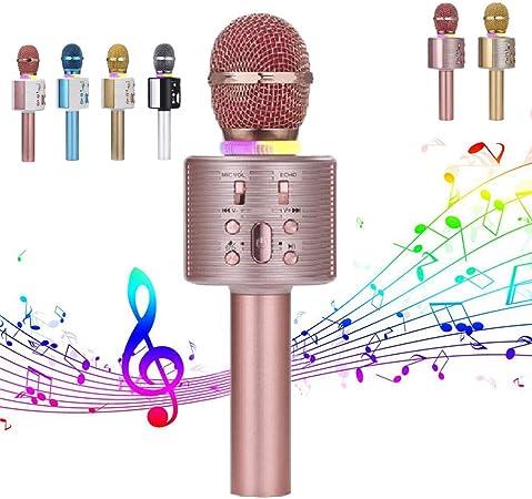 WHWH Micrófono inalámbrico Bluetooth del teléfono móvil del Karaoke Karaoke Micrófono Condensador Partido de Sonido Entretenimiento,Gold 2-OneSize: Amazon.es: Hogar