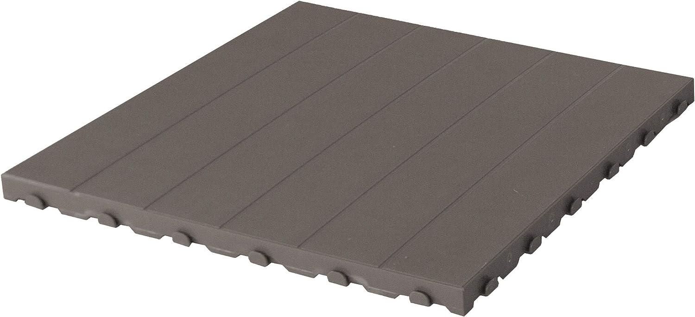 Baldosa de plástico para exterior y jardín de 60 x 60 cm. Paquete de 4 unidades equivalente a 1,5 m2 color gris