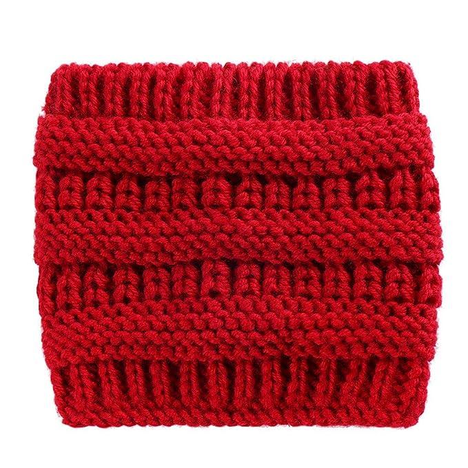 Fheaven (TM) Sport Headbands Women Knitted Headbands Winter Warm Head Wrap Wide Hair Accessories Hat (Red)