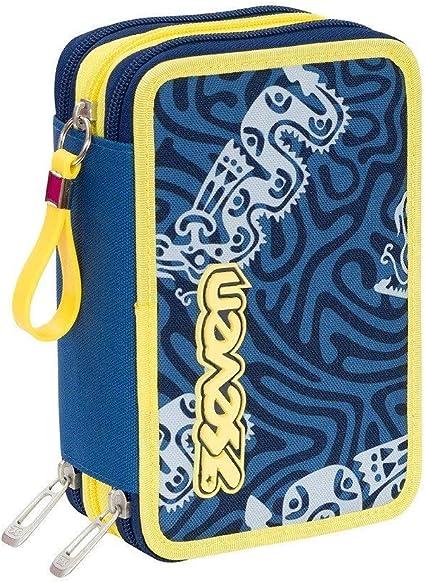 Estuche escolar completo con 3 cremalleras Seven Totem, color azul y amarillo: Amazon.es: Oficina y papelería