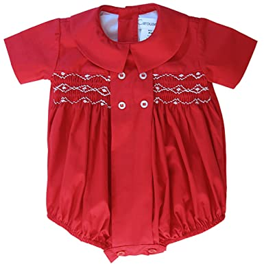 b19f0c9d0 Amazon.com: Carouselwear Elegant Baby Boy Red Christmas Timothy Smocked  Bubble Outfit: Clothing