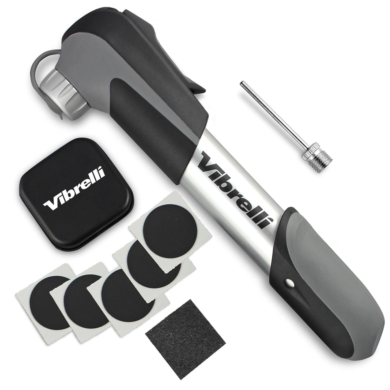 Vibrelli Mini Bike Pump Glueless Puncture Repair Kit – Fits Presta Schrader – 120 PSI – No Valve Changing Needed.