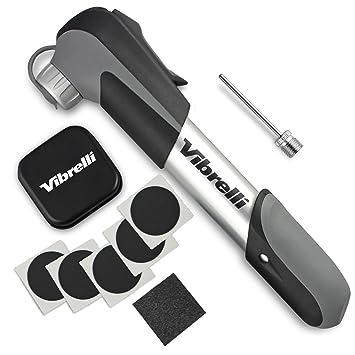 Review Vibrelli Mini Bike Pump & Glueless Puncture Repair Kit - Fits Presta & Schrader - 120 PSI - No Valve Changing Needed