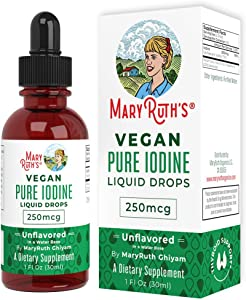 Vegan Iodine Drops by MaryRuth - Nascent Liquid Iodine Supplement Drops Solution - Pure, Clear Iodine - Promotes Optimal Thyroid Health - Hormone and Weight Support - 450 Servings