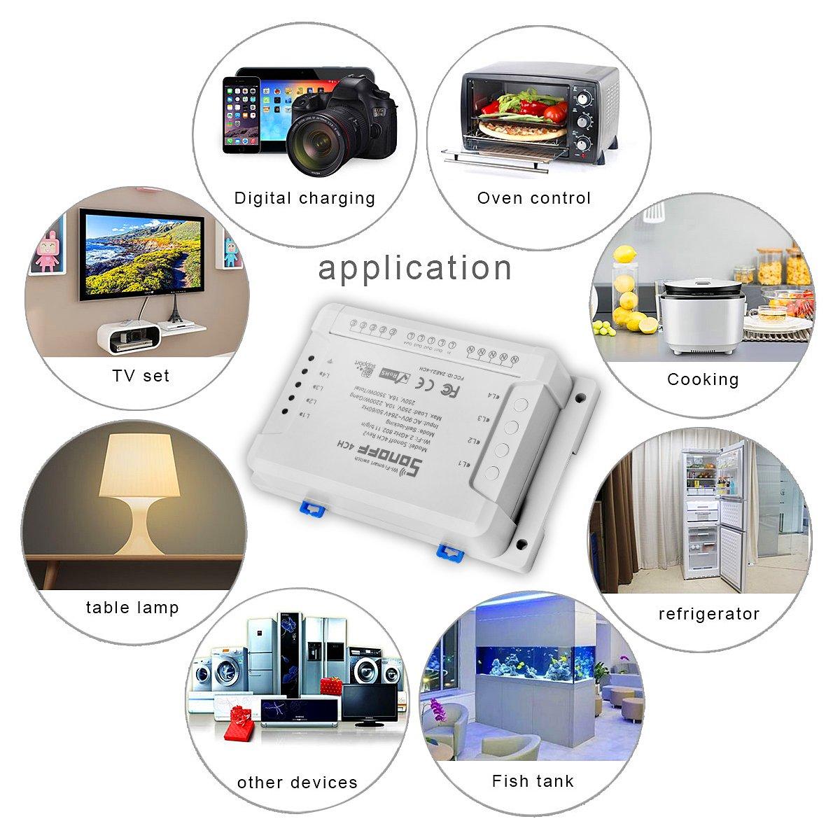 Sonoff 4CH R2 Interruptor Remoto WIFI Smart Switch Inteligente Inal/ámbrico Conmutador de Control Remoto del Temporizador Compatible con Alexa +9-en-1 Aluminio de Destornilladores de Precisi/ón