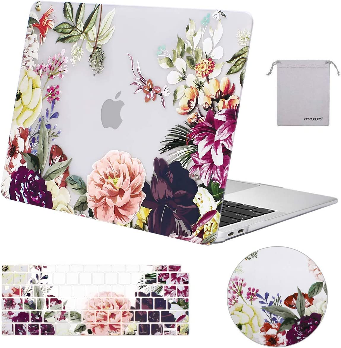 MOSISO MacBook Air 13 Inch Case 2019 2018 Release A1932 with Retina Display Plastic Pattern Hard Shell /& Keyboard Cover /& Mouse Pad /& Storage Bag Only Compatible with MacBook Air 13 Rose Leaves