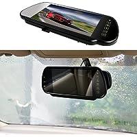"7"" Car Auto Monitor in-Mirror LCD Screen HD 800x480, E-Kylin 12V / 24V Universal for Truck Mirror Mount Clip 2 RCA Input…"