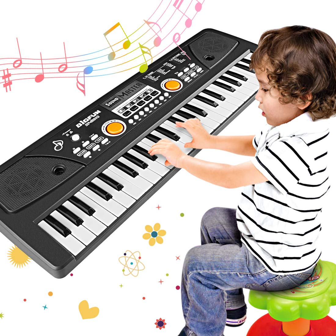 WOSTOO Piano Keyboard 49 Key, Portable Electronic Kids Keyboard Piano Educational Toy, Digital Music Piano Keyboard with Microphone for Kids Girls Boys by WOSTOO