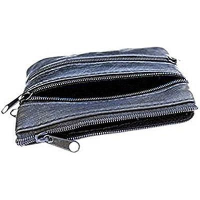 Monedero de cuero blando con 4 cremalleras y funda para una tarjeta, color Negro, talla talla única