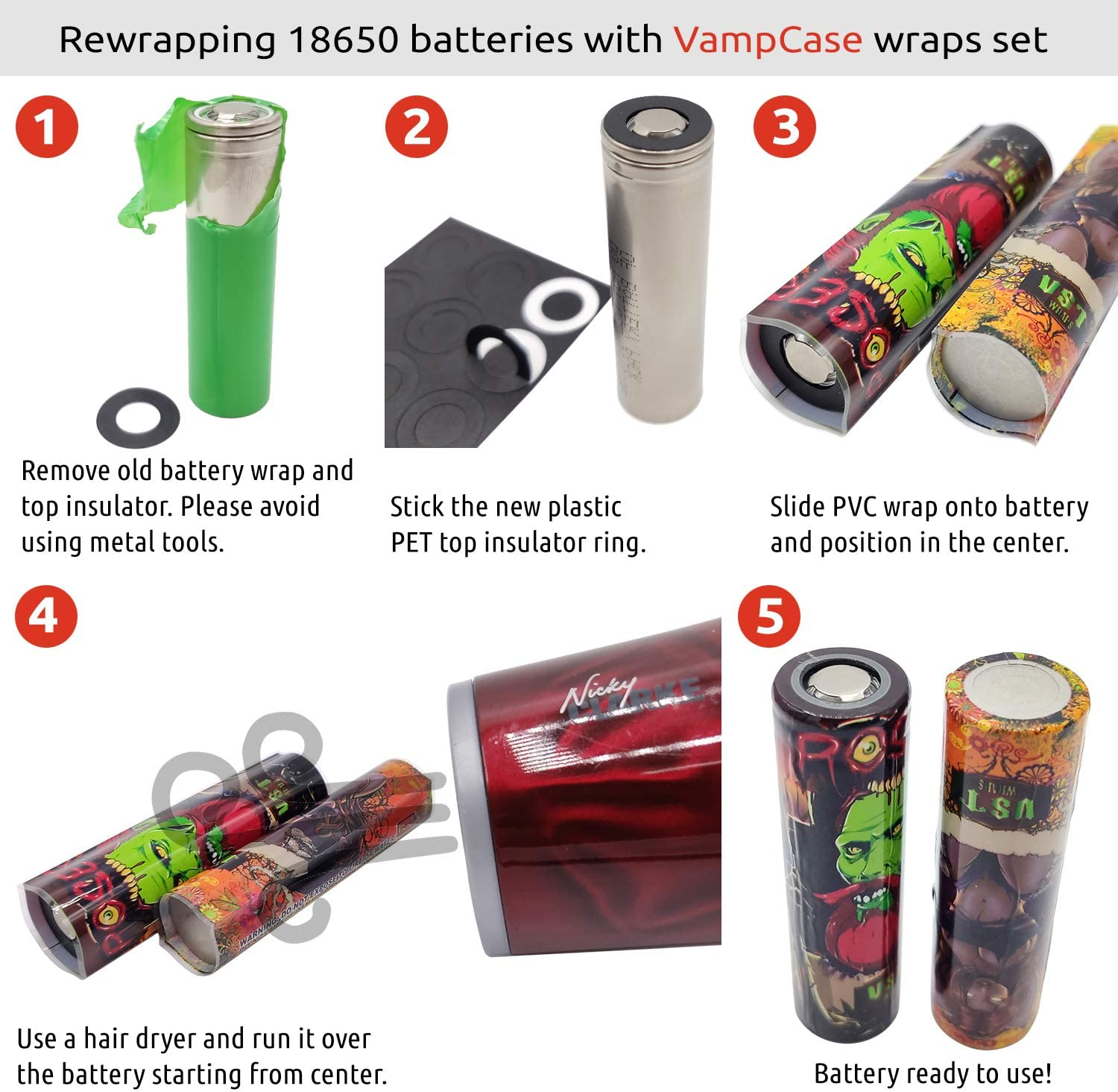 2pcs of Each 16pcs VampCase Rewrap Kit Wraps Heat Shrink Tubes Sleeves for 18650 Batteries Devils Serie Set of PVC Wraps + PET Top Insulators