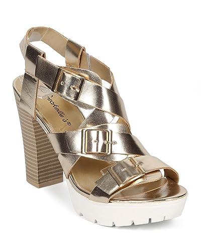 4e33d8f9522 Women Metallic Cross Buckle Ankle Strap Lug Sole Chunky Heel CF78 -  Champagne Metallic (Size