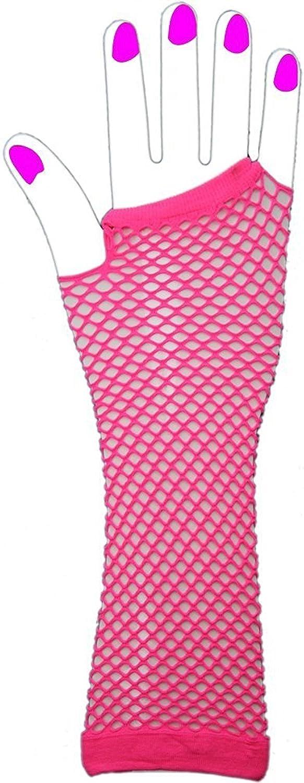 LONG FISHNET GLOVES FINGERLESS FANCY DRESS 1980S NEON PUNK RAVE HEN NIGHT TUTU /£0.50p discount after purchase