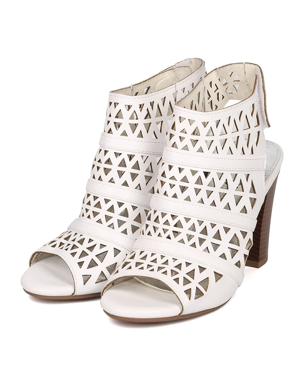Women Leatherette Peep Toe Perforated Chunky Heel Slingback Mule GG78 - White (Size: 6.5) by Nature Breeze (Image #5)